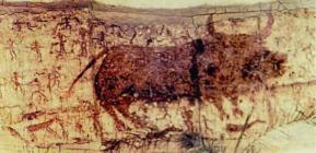 çatalhöyükteki bir mağara resmi